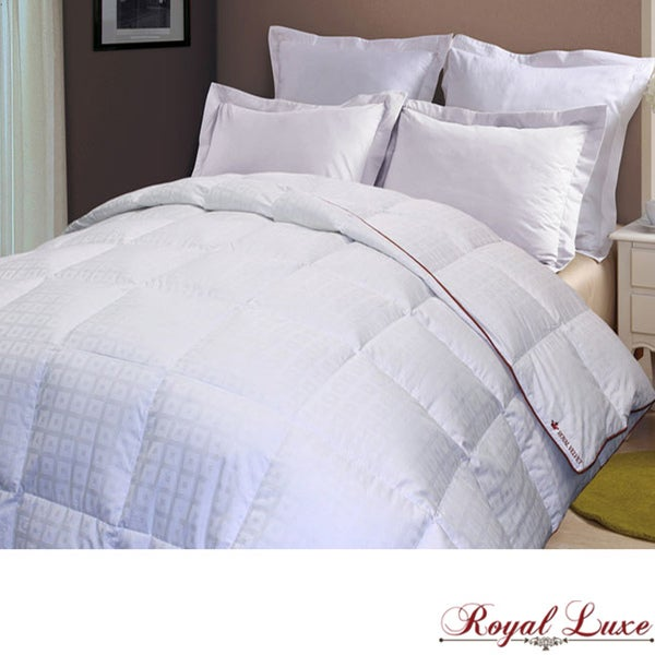 Royal Luxe 300 Thread Count Square Check Down Alternative Comforter