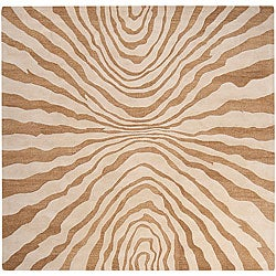 Hand-tufted Contemporary Beige Pioneer New Zealand Wool Abstract Rug (8' Square)