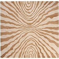 Hand-tufted Contemporary Beige Pioneer New Zealand Wool Abstract Area Rug - 8' x 8'