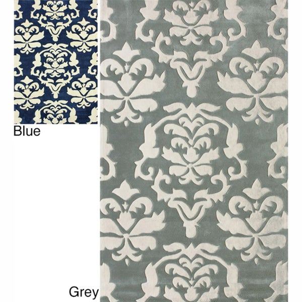 nuLOOM Handmade Pino Floral Damask Rug (7'6 x 9'6)