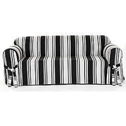 High Quality Cotton Black Stripe Loveseat 1 Piece Slipcover