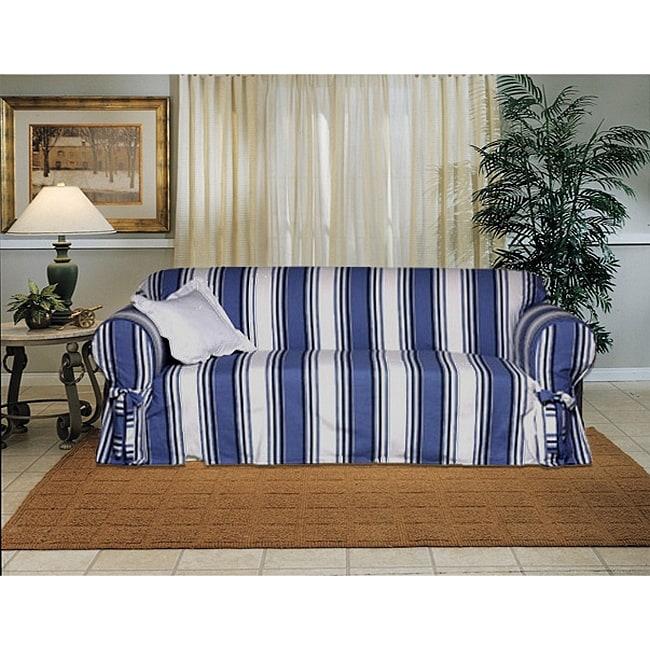 Cotton Blue Stripe Sofa 1-piece Slipcover