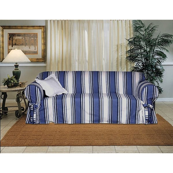 Cool Cotton Blue Stripe Sofa 1 Piece Slipcover Dailytribune Chair Design For Home Dailytribuneorg