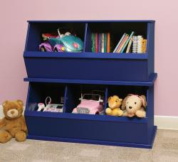 Merveilleux Two Bin Stackable Storage Cubby In Blue
