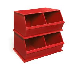 Two Bin Stackable Storage Cubby in Red