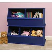 Three Bin Stackable Storage Cubby in Blue