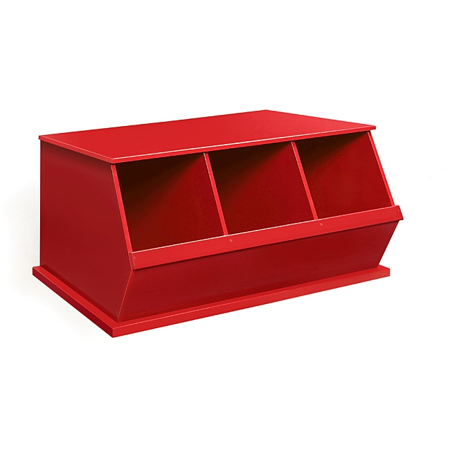 Three Bin Stackable Storage Cubby In Red Free Shipping Today Overstock Com 13948144