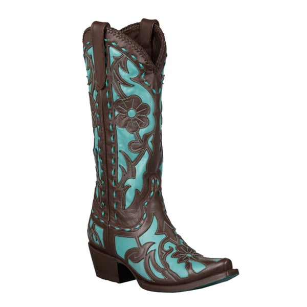 Lane Boots Women's Brown/ Turquoise 'Poison' Cowboy Boots
