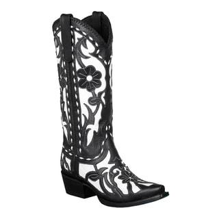 Lane Boots Women's Black/ White 'Poison' Cowboy Boots