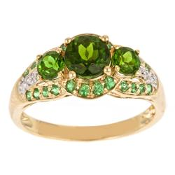 Anika and August 10k Yellow Gold Diopside, Tsavorites and Diamond Accent Ring