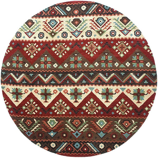 Hand Tufted Agra Red Gold Wool Rug 8 Round: Hand-tufted Red Southwestern Aztec Barnet New Zealand Wool