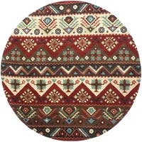 Hand-tufted Red Southwestern Aztec Barnet New Zealand Wool Area Rug - 8' Round