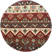 Hand-tufted Red Southwestern Aztec Barnet New Zealand Wool Area Rug - 8'