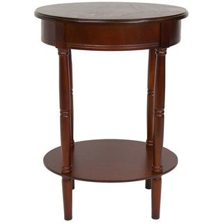 Handmade Wood 26-inch Classic Oval Lamp Table (China)