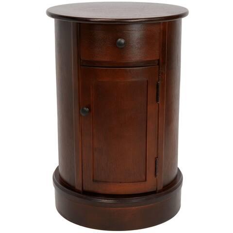 "Handmade 26"" Wood Oval Nightstand"