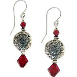 Misha Curtis Silver Sunburst Red Crystal Earrings