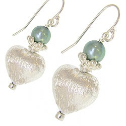 Misha Curtis Sterling Silver Pistachio Pearl Heart Earrings (5