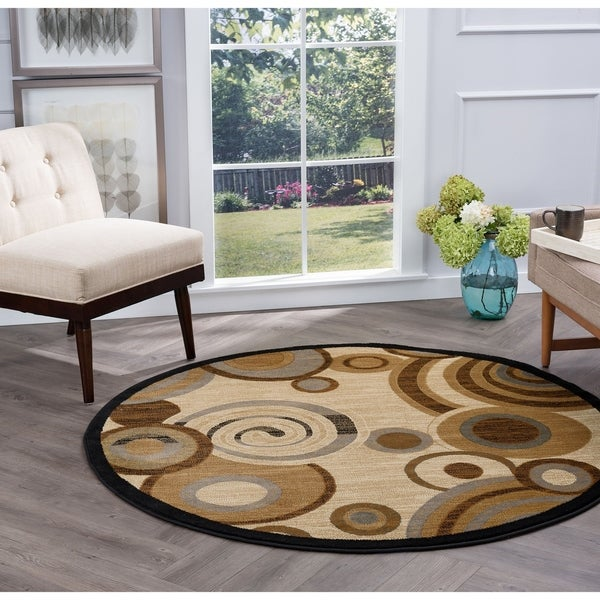 Alise Rugs Flora Contemporary Geometric Round Area Rug - 5'3 x 5'3