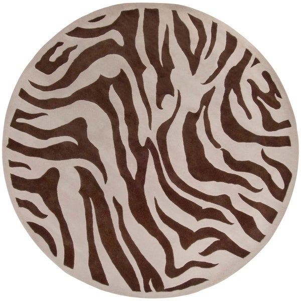 Shop Hand-tufted Brown/White Zebra Animal Print Bruton