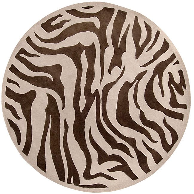 Hand-tufted Brown/White Zebra Animal Print Bruton Wool