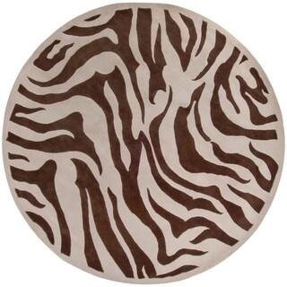 "Hand-tufted Brown/Tan Zebra Animal Print Bruton Wool Area Rug - 7'9"" Round"