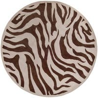 "Hand-tufted Brown/Tan Zebra Animal Print Bruton Wool Area Rug - 7'9"" Round"