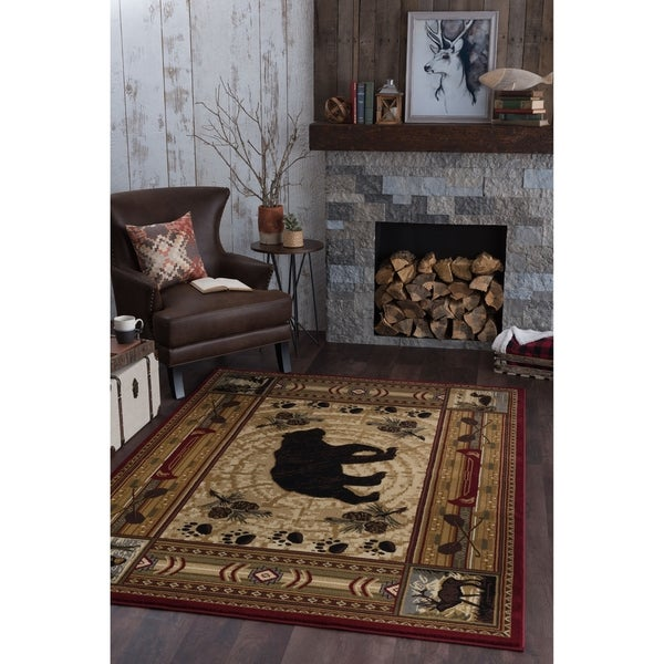 Alise Rugs Natural Lodge Novelty Lodge Area Rug - multi - 5'3 x 7'3