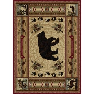 Alise Natural Collection Red/ Ivory Area Rug (5'3 x 7'3)