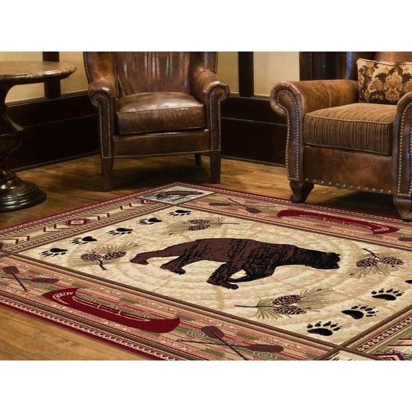 Alise Natural Collection Red/ Ivory Area Rug (7'10 x 10'3)