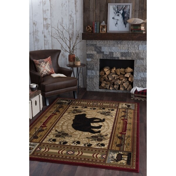 Alise Rugs Natural Lodge Novelty Lodge Area Rug - multi - 7'10 x 10'3