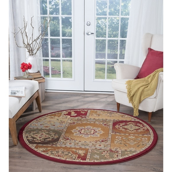 Alise Rugs Infinity Transitional Oriental Round Area Rug - multi - 5'3 x 5'3