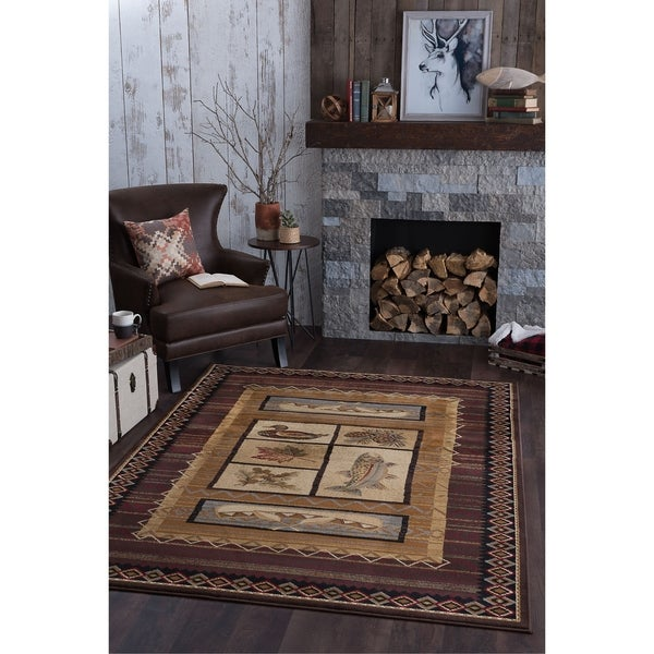 Alise Natural Collection Brown/ Multi Rug - 5'3 x 7'3