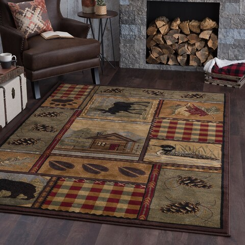 Alise Natural Collection Green Rug - 5'3 x 7'3
