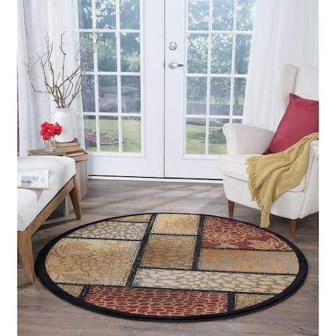 Alise Rugs Infinity Transitional Floral Round Area Rug - multi - 5'3 x 5'3 - 5'3 x 5'3