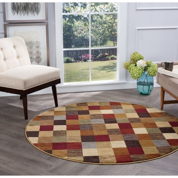 Alise Rugs Flora Contemporary Abstract Round Area Rug - 5'3 x 5'3