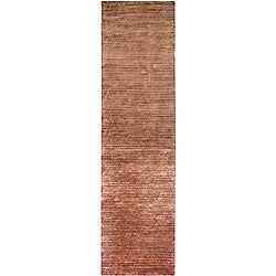 Hand-knotted Solid Brown Cheshunt Semi-worsted New Zealand Wool Rug (2'6 x 10')