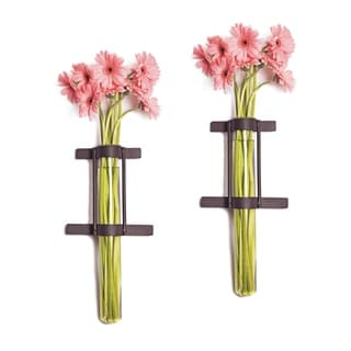 Wall Mount Cylinder Glass Vases with Rustic Rings Metal Stand (Set of 2)