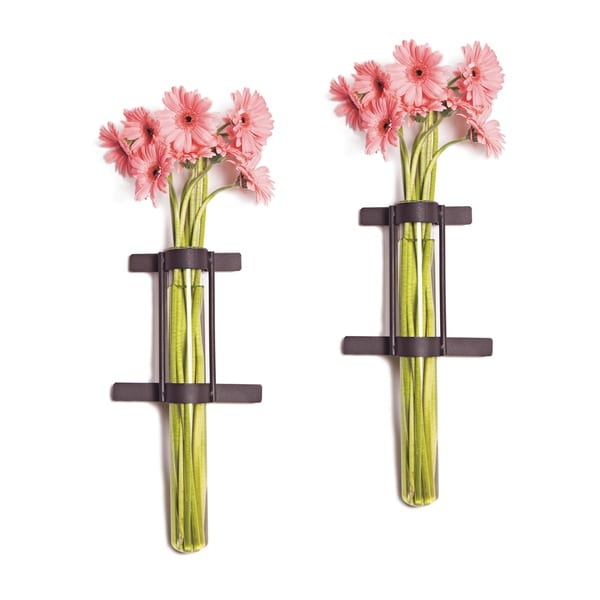 Wall Mount Cylinder Glass Vases with Rustic Rings Metal Stand (Set of 2). Opens flyout.