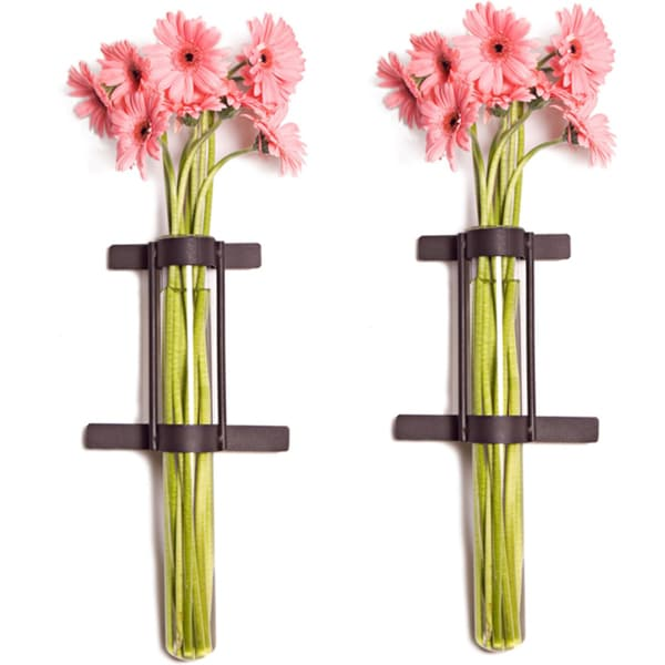 Shop Wall Mount Cylinder Glass Vases With Rustic Rings Metal Stand