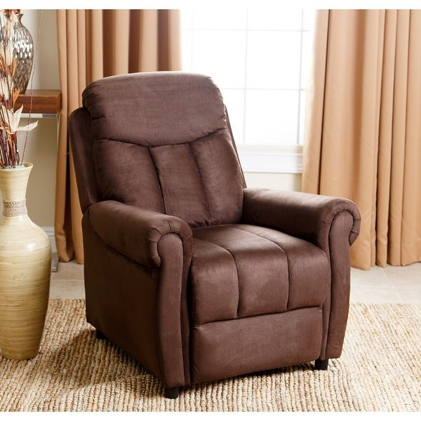 abbyson living bayside dark brown microsuede pushback recliner free