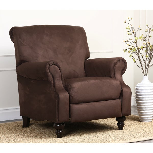 abbyson living vienna dark brown microsuede pushback recliner free