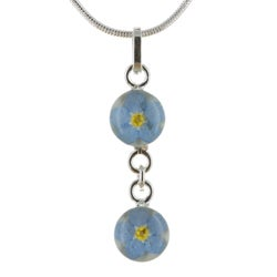 Handmade Sterling Silver Forget-Me-Not Flower Double Pendant Necklace (Mexico)