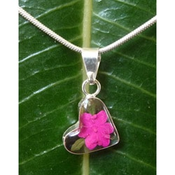Sterling Silver Miniature Hot Pink Flower Tiny Heart Necklace (Mexico)