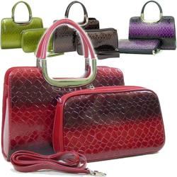 Dasein Patent Leatherette Snakeskin Embossed 2-in-1 Satchel Bag