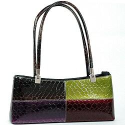 Dasein Patent Leatherette Snake Skin Handbag