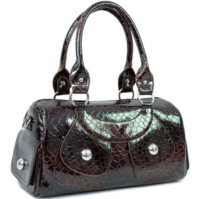 Dasein Patent Leatherette Snakeskin Embossed Traditional Shoulder Bag