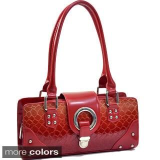 Dasein Patent Leatherette Snakeskin Shoulder Bag