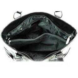 Snakeskin Embossed Side Buckle Shoulder Bag