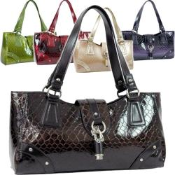 Dasein Snakeskin Embossed Patent Faux Leather Shoulder Bag with Flap-Over Top - Thumbnail 2