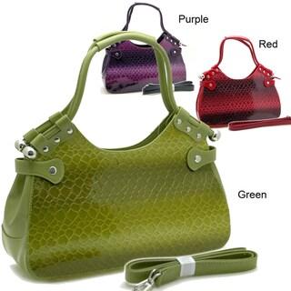 Dasein Snakeskin Embossed Patent Faux Leather Shoulder Bag